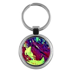 Abstract Painting Blue,yellow,red,green Key Chains (round)  by Costasonlineshop