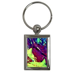 Abstract Painting Blue,yellow,red,green Key Chains (rectangle)