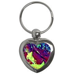 Abstract Painting Blue,yellow,red,green Key Chains (heart)