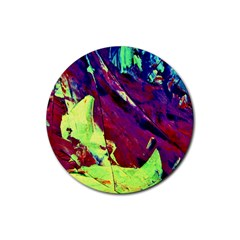 Abstract Painting Blue,yellow,red,green Rubber Coaster (round)  by Costasonlineshop