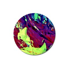 Abstract Painting Blue,yellow,red,green Magnet 3  (round)