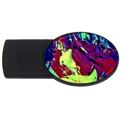 Abstract Painting Blue,yellow,red,green Usb Flash Drive Oval (2 Gb)  by Costasonlineshop