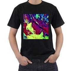 Abstract Painting Blue,Yellow,Red,Green Men s T-Shirt (Black) (Two Sided) by Costasonlineshop