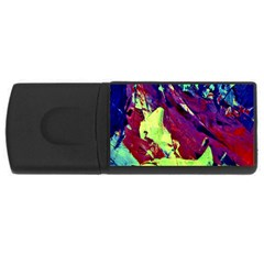 Abstract Painting Blue,yellow,red,green Usb Flash Drive Rectangular (4 Gb)  by Costasonlineshop