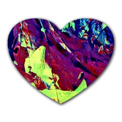 Abstract Painting Blue,yellow,red,green Heart Mousepads by Costasonlineshop