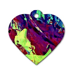 Abstract Painting Blue,yellow,red,green Dog Tag Heart (two Sides) by Costasonlineshop