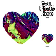 Abstract Painting Blue,yellow,red,green Multi Purpose Cards (heart)  by Costasonlineshop