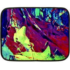 Abstract Painting Blue,yellow,red,green Fleece Blanket (mini) by Costasonlineshop