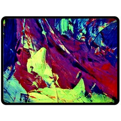 Abstract Painting Blue,yellow,red,green Fleece Blanket (large)  by Costasonlineshop