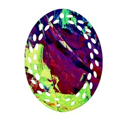 Abstract Painting Blue,yellow,red,green Oval Filigree Ornament (2 Side)