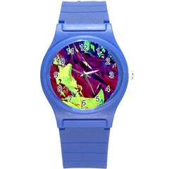 Abstract Painting Blue,yellow,red,green Round Plastic Sport Watch (s) by Costasonlineshop