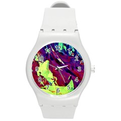 Abstract Painting Blue,yellow,red,green Round Plastic Sport Watch (m) by Costasonlineshop