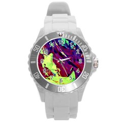 Abstract Painting Blue,yellow,red,green Round Plastic Sport Watch (l)