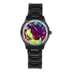 Abstract Painting Blue,yellow,red,green Stainless Steel Round Watches