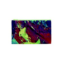 Abstract Painting Blue,yellow,red,green Cosmetic Bag (xs) by Costasonlineshop