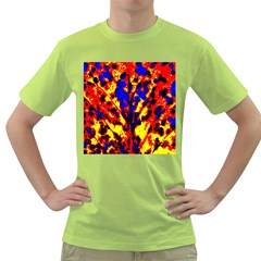 Fire Tree Pop Art Green T Shirt
