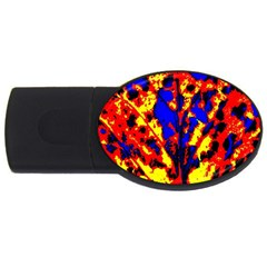 Fire Tree Pop Art Usb Flash Drive Oval (2 Gb)  by Costasonlineshop