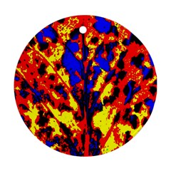 Fire Tree Pop Art Round Ornament (two Sides)  by Costasonlineshop