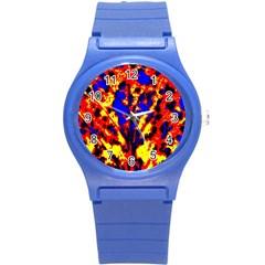 Fire Tree Pop Art Round Plastic Sport Watch (s) by Costasonlineshop