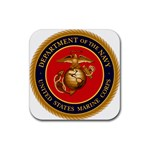 MARINE CORP SEAL Rubber Square Coaster (4 pack)