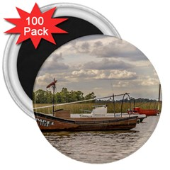 Fishing And Sailboats At Santa Lucia River In Montevideo 3  Magnets (100 Pack) by dflcprints