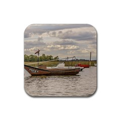 Fishing And Sailboats At Santa Lucia River In Montevideo Rubber Square Coaster (4 Pack)  by dflcprints