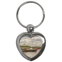 Fishing And Sailboats At Santa Lucia River In Montevideo Key Chains (heart)  by dflcprints