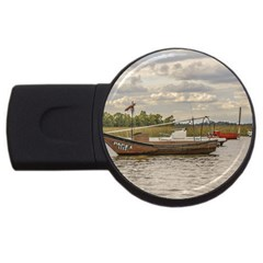 Fishing And Sailboats At Santa Lucia River In Montevideo Usb Flash Drive Round (2 Gb)  by dflcprints