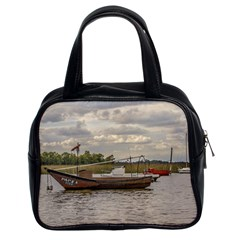 Fishing And Sailboats At Santa Lucia River In Montevideo Classic Handbags (2 Sides) by dflcprints