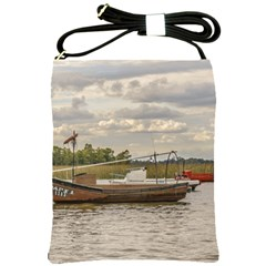Fishing And Sailboats At Santa Lucia River In Montevideo Shoulder Sling Bags by dflcprints