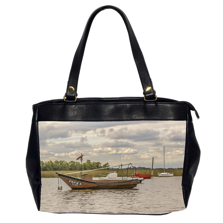 Fishing And Sailboats At Santa Lucia River In Montevideo Office Handbags (2 Sides)