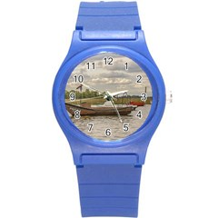 Fishing And Sailboats At Santa Lucia River In Montevideo Round Plastic Sport Watch (s) by dflcprints