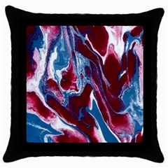 Blue Red White Marble Pattern Throw Pillow Cases (black) by Costasonlineshop