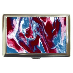 Blue Red White Marble Pattern Cigarette Money Cases by Costasonlineshop