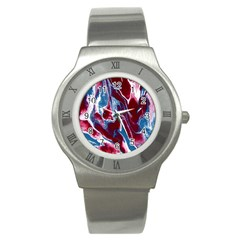 Blue Red White Marble Pattern Stainless Steel Watches by Costasonlineshop