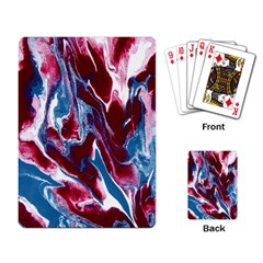Blue Red White Marble Pattern Playing Card