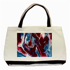 Blue Red White Marble Pattern Basic Tote Bag (two Sides)  by Costasonlineshop