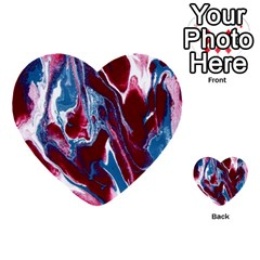 Blue Red White Marble Pattern Multi Purpose Cards (heart)  by Costasonlineshop