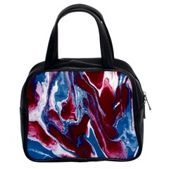 Blue Red White Marble Pattern Classic Handbags (2 Sides) by Costasonlineshop