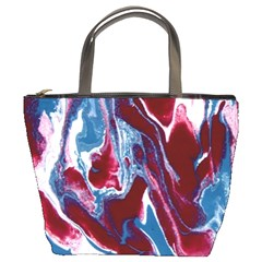 Blue Red White Marble Pattern Bucket Bags