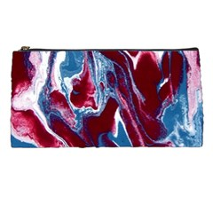 Blue Red White Marble Pattern Pencil Cases by Costasonlineshop