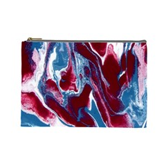 Blue Red White Marble Pattern Cosmetic Bag (large)  by Costasonlineshop