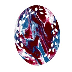 Blue Red White Marble Pattern Ornament (oval Filigree)  by Costasonlineshop