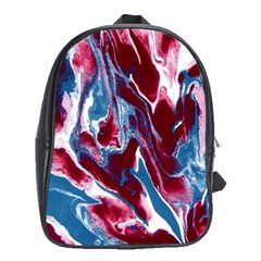 Blue Red White Marble Pattern School Bags (xl)  by Costasonlineshop