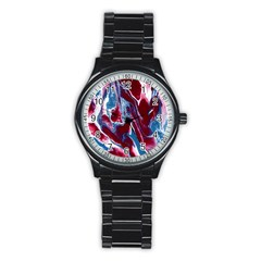 Blue Red White Marble Pattern Stainless Steel Round Watches by Costasonlineshop