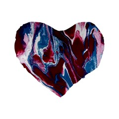 Blue Red White Marble Pattern Standard 16  Premium Flano Heart Shape Cushions by Costasonlineshop