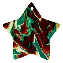 Brown Beige Marble Pattern Ornament (star)  by Costasonlineshop