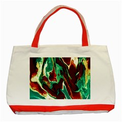 Brown Beige Marble Pattern Classic Tote Bag (red)  by Costasonlineshop