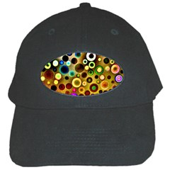 Colourful Circles Pattern Black Cap by Costasonlineshop