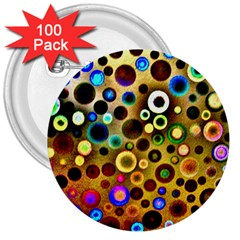Colourful Circles Pattern 3  Buttons (100 Pack)  by Costasonlineshop